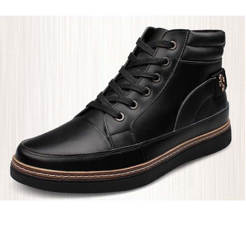HOT Big Taille 38 ~ 48 Chaud Neige Bottes Hommes D hiver Imperméables Bottes  Hommes En Cuir Véritable Dentelle-up Haute Top Casual Chaussures Printemps 5962fe33631