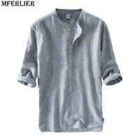 MFERLIER New high quality Men casual Chinese style Linen Shirts three quarter slim fit simple thin Flax striped shirt Breathable