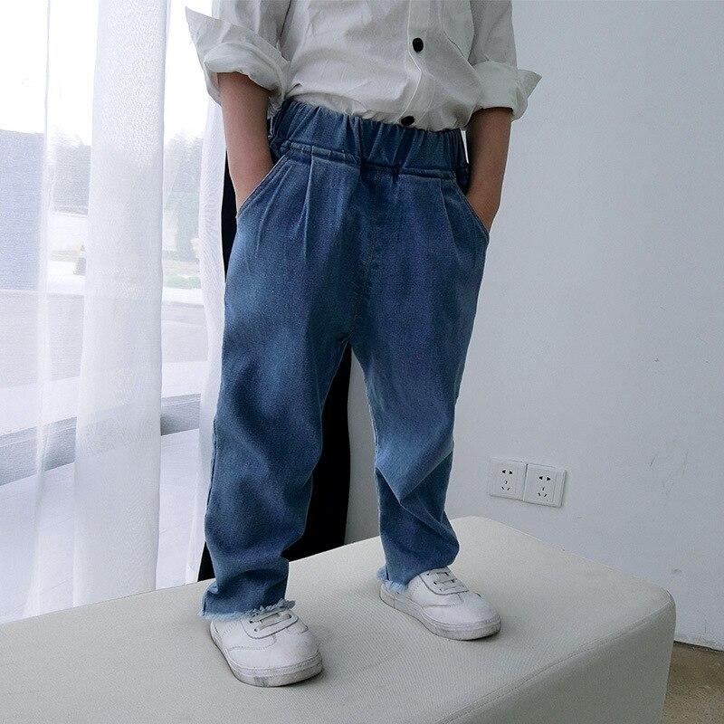 Новое поступление Лидер продаж детей Джинсы для мальчиков, классическая посадка на талии резиновый ремень длинные штаны Детская осенняя од...