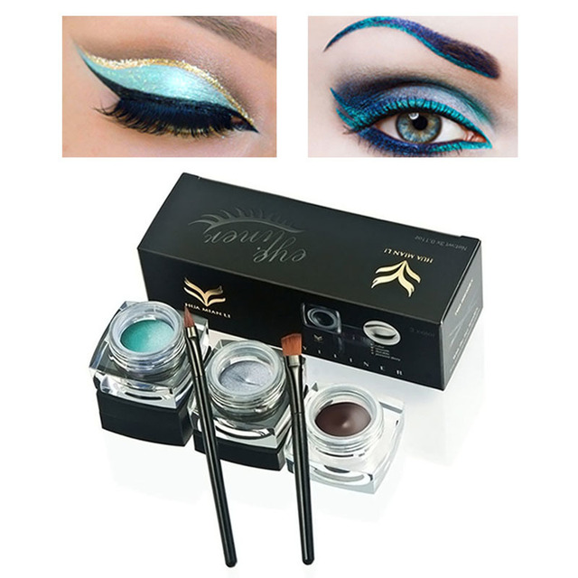 HUAMIANLI Profession 3 pcs Colors Foundation Makeup Gel Eye Liner With Waterproof Long lasting   Eyeliner Gel Cosmetic Make Up