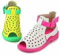 2015 New Children's shoes Summer Fluorescent Sandals For Girls Beach Princess Shoes Bow Color Peep Toes Sandalias KY8959