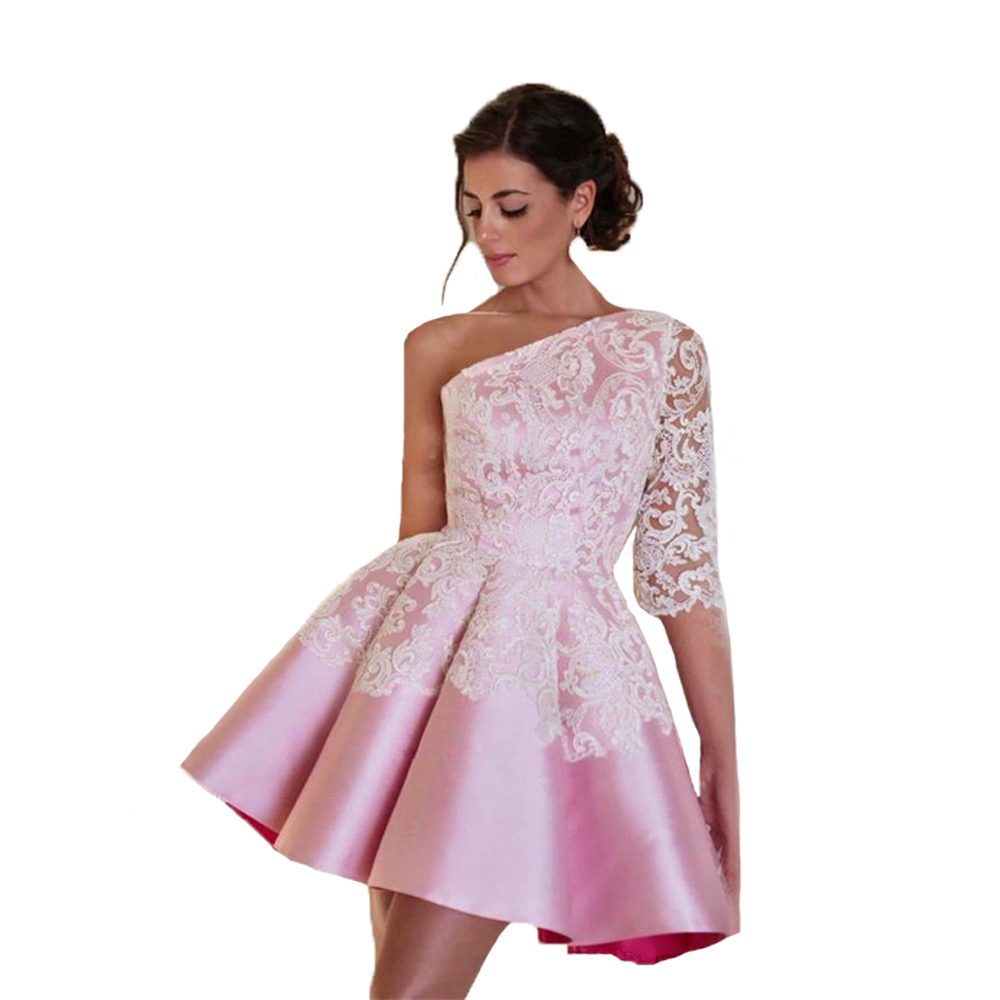 Promotion Maid of Honer White Appliques One shoulder with half sleeves wedding Guest dress Homecoming Cocktail Party Dress short
