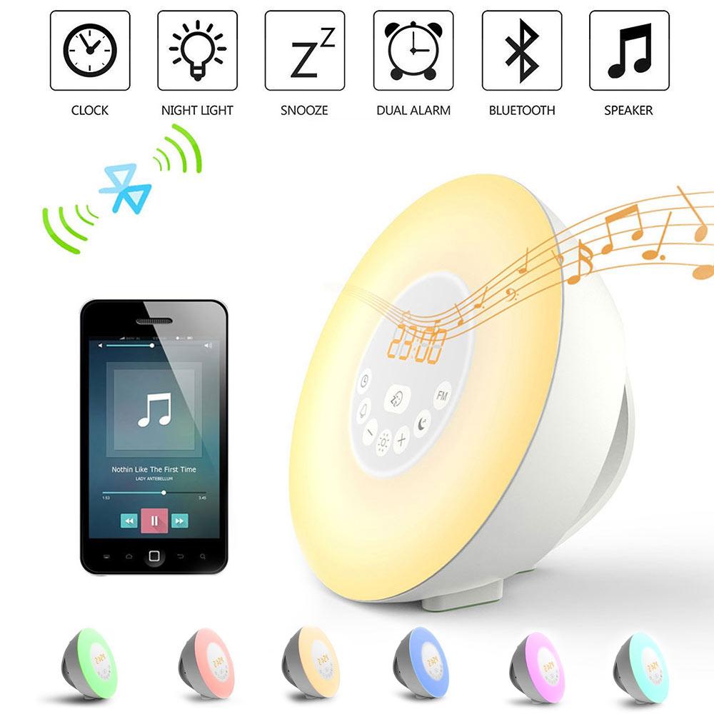 Moderno LED lámpara Despertador con función Snooze FM Radios Bluetooth crepúsculo ilumina tabla escritorio digital Reloj 2017