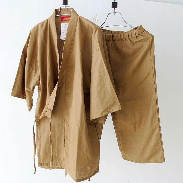 Verão de manga curta pijama conjunto quimono Japonês Yukata Algodão Sleepwear Robe de pijama dos homens simples e Calças 62804
