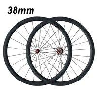 2017 New Road Bicycle Wheels 700C 38mm Depth 25mm Width Carbon Clincher Wheelset Powerway R36 Hub