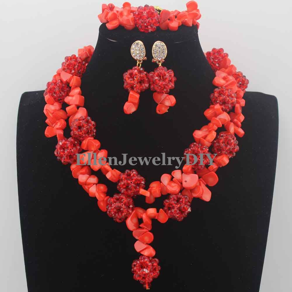 New Marvelous Nigerian Wedding Beads Necklaces Orange Coral Beads Jewelry Set African beads Jewelry Set for Women W13839New Marvelous Nigerian Wedding Beads Necklaces Orange Coral Beads Jewelry Set African beads Jewelry Set for Women W13839