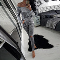 Velvet Bodysuit 2017 Off Shoulder Women Jumpsuits Long Sleeve Plus Size Overall Bodycon Jumpsuit Rompers Sexy Club Outfits Green