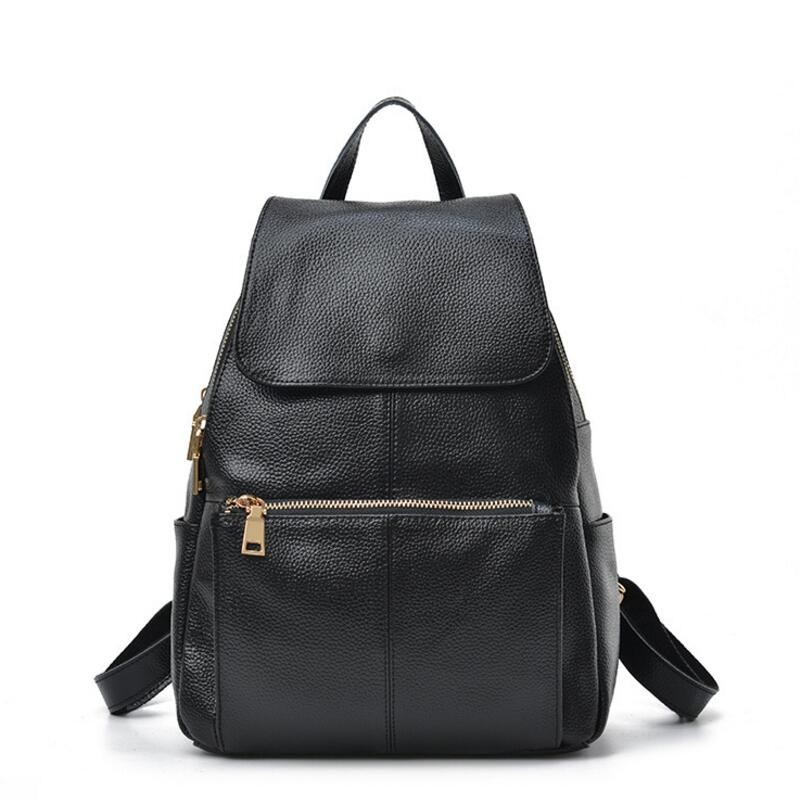 c7d366d448 2017 Fashion Designer Genuine Leather Backpack Women Bags Preppy Style  Backpack Girls School Bags Zipper Female Leather Backpack