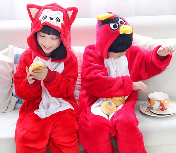 Pajamas for kids Flannel Baby Boy Warm Winter Cartoon Animal pajamas Onesie Girls Boy sleepwear Free Shipping