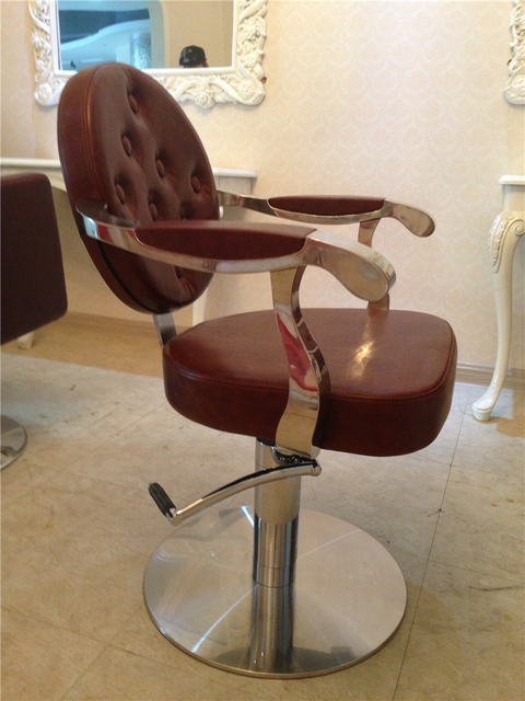 Manufacturers selling round back hair salon hairdressing chair. Beauty-care chair. Hydraulic chair, stainless steel handrails