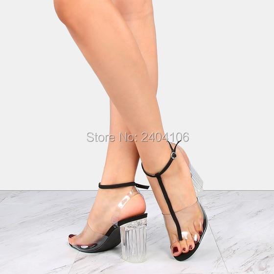 T Cm Zapatos Bloque Talón Mujer Tacones Cristal Verano Sexy Black Toe Sandalias Peep Altos red Claro Transparente beige Perspex Pvc 9 strap Az0aTA