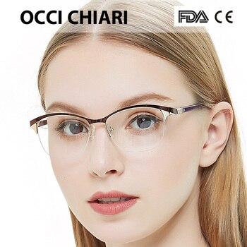 Femmes lunettes rondes cadre optique Prescription ordinateur myopie lunettes transparentes clair métal cadre lumière OCCI CHIARI BAUSO