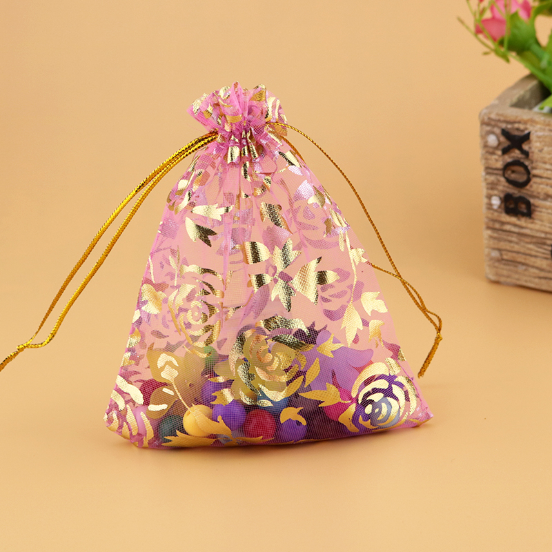 500pcs lot Pink Organza Bags Jewelry Drawstring Gift Bag 11x16cm Wedding Favor Candy Jewelry Packaging Bags