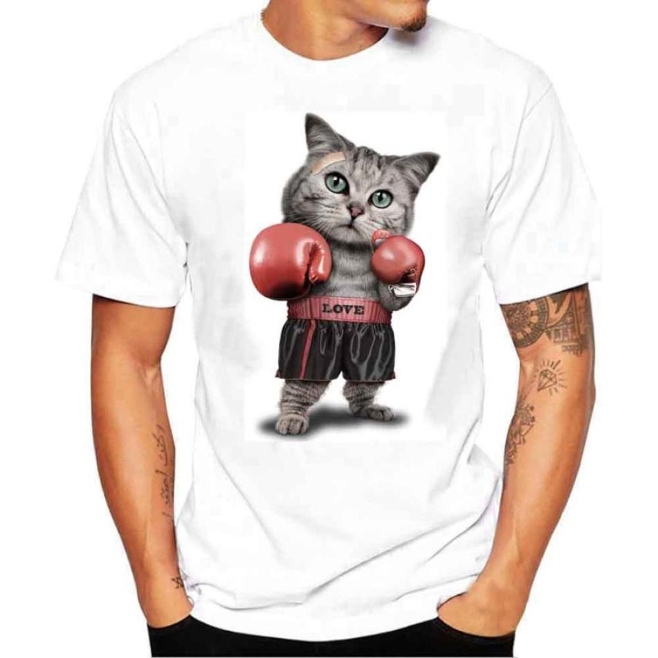 Hot Fashion Causal 2018 Men Cat Printing Tees Shirt Spring Summer Short Sleeve T Shirt Blouse T-Shirt For Male Drop Shipping F80