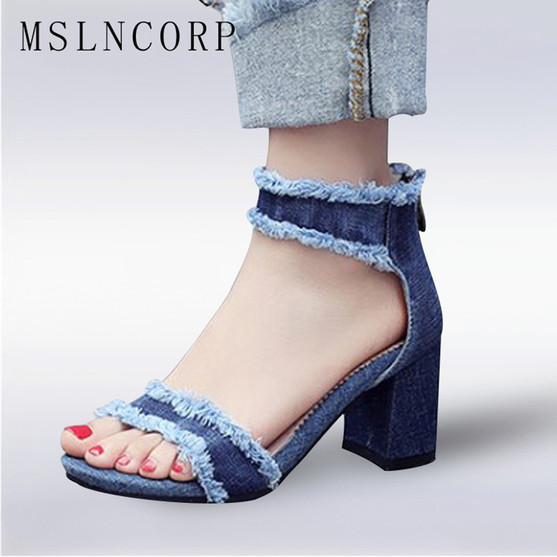 plus size 34-43 Fashion zapatos mujer chunky ladies shoes women ankle strap high heels summer femme Denim sandals Gladiator New hodisytian new fashion women jeans high waist elastic denim capris pencil pants stretch trousers pantalon femme plus size 5xl