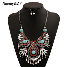 Naomy&ZP Brand Big Bohemian Ethnic Collar Flower Statement Necklace Choker Women Crystal Maxi Power Necklace Fashion Jewelry(China)