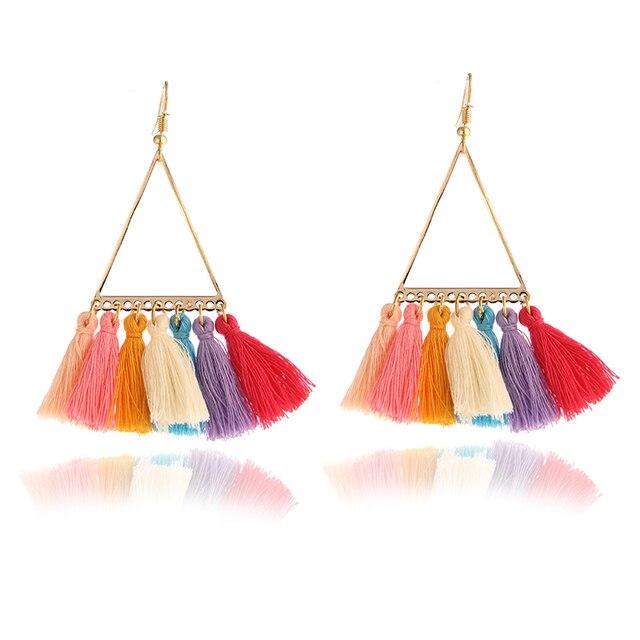 3 Colors Bohemia Long Tassels Earrings For Women Fashion Statement Dangle Earrings Ethnic fashion women statement  earrings e064