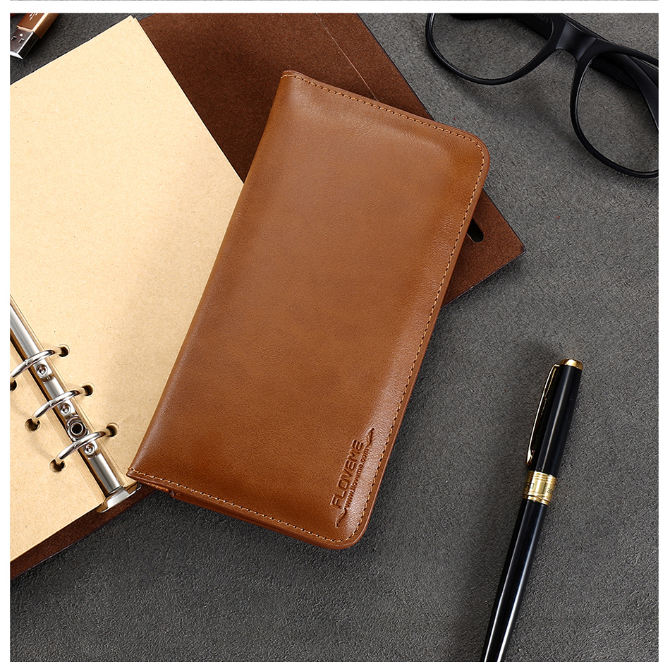 FLOVEME Genuine Leather Wallet Case For iPhone 6 6S 7 Plus Cover Multi-function Vintage Luxury Phone Pouch For Samsung S6 S7 (20)