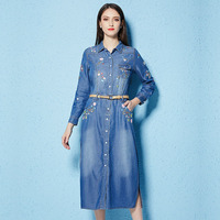 Floral Embroidered Denim Dresses Women Turn Down Collar Casual Single Breasted Dress Long Sleeve Midi Dress