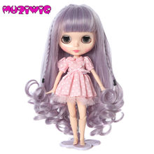 Light Purple Doll Wigs Blue Long Curly hair With Straight Bangs Braided for Bly-the Doll with 25cm Head Circumference(China)
