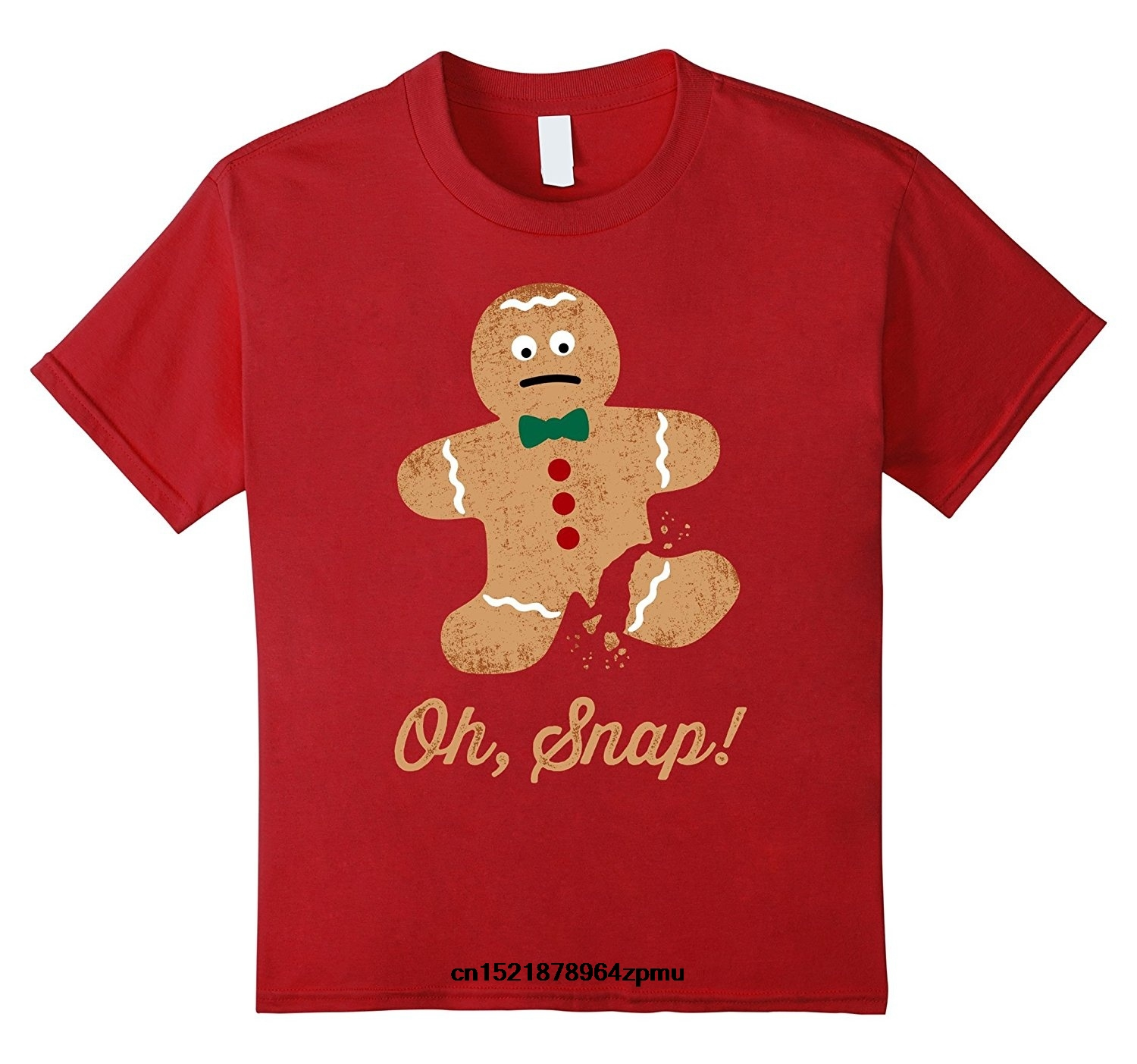 Men T Shirt Snap Gingerbread Man Funny Christmas Cheap
