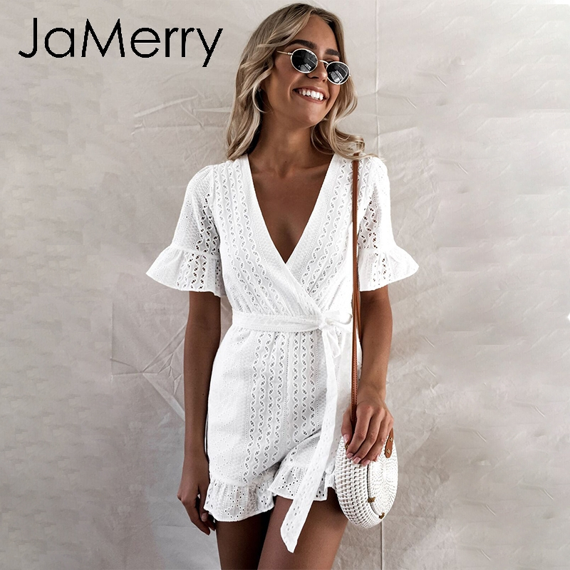 JaMerry Sexy white lace embroidery   jumpsuit   romper women Ruffled hollow out boho holiday playsuit Elegant beach sashes   jumpsuit