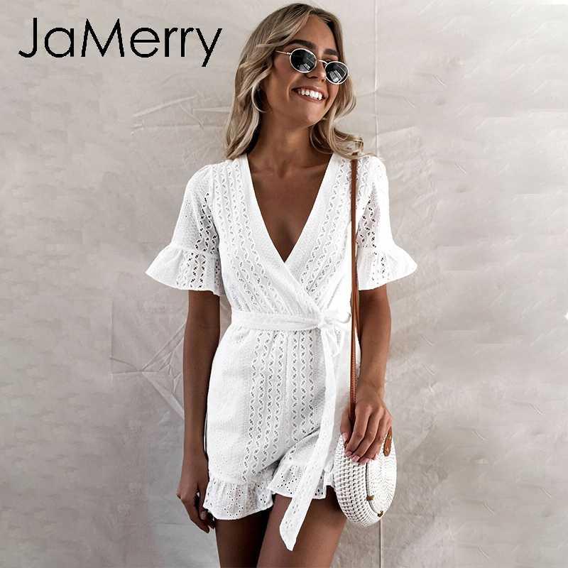 JaMerry сексуальный белый кружевной комбинезон с вышивкой, женский комбинезон с прорезями, бохо праздничный пляжный костюм, элегантный пляжный комбинезон с поясом