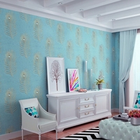 beibehang embroidery wallpaper Continental 3D drilling non woven peacock blue feather bedroom living room TV background wal