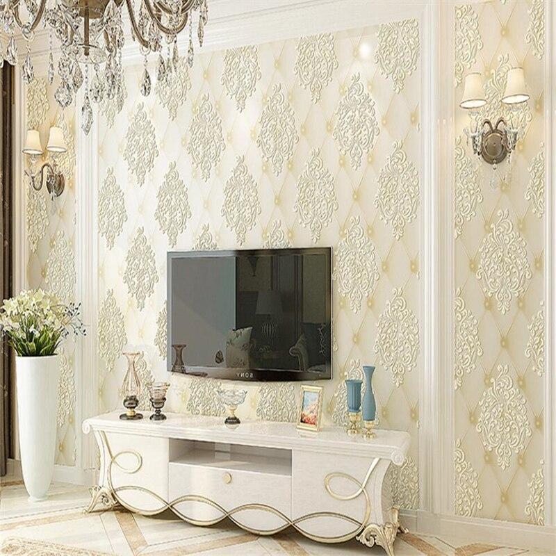 Beibehang style européen mural salon chambre en relief papier peint de luxe imitation doux paquet fond 3d papier peint rouleau