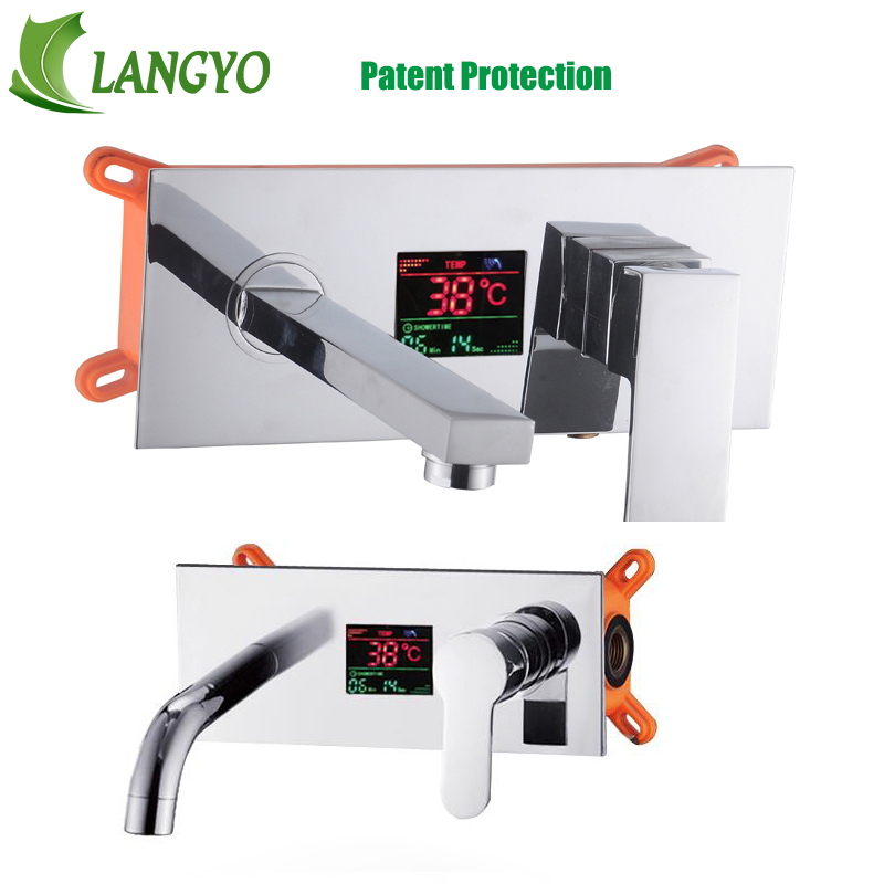 LANGYO LED/LCD Wall Mounted Digital Display Bathroom single handle Faucet Chrome Brass Spout Vanity Sink Mixer Tap FreeShipping ceramic single handle bathroom vanity sink mixer tap chrome finished