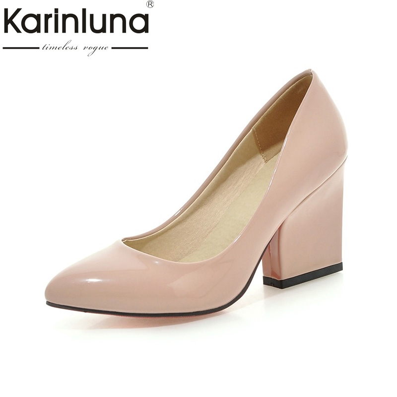 KarinLuna 2018 Big Size 33-43 Pointed Toe Office Lady Pumps Shoes Women Fashion High Heels Spring Shoes Woman Footwear women s geniune leather high heels shoes women pointed toe pure color high heeled pumps office lady sexy footwear size 33 40