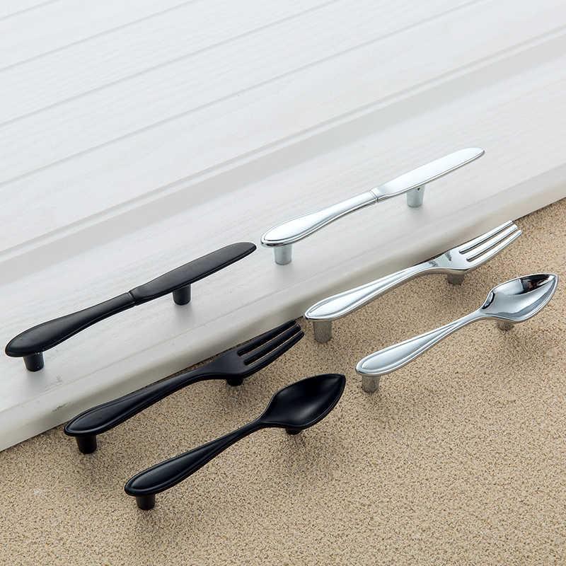Couteau fourchette cuillère poignée et boutons, couteau à espacement avec trous créatifs de 76mm tiroirs de porte pour l'armoire de cuisine tire la quincaillerie de meubles