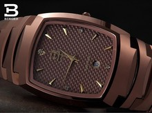 New 2017 Binger tungsten steel men's watch quartz watch beerbarrel rose gold full steel wristwatches BG-0365-1