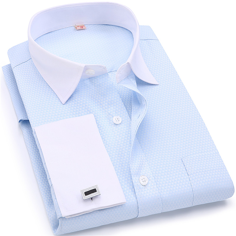 Men French Cufflinks Shirts White Collar Design Solid Color