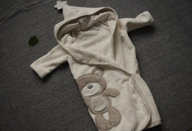 Buena calidad 100% algodón recién nacido albornoces oso del bebé, albornoz cuerda con capucha, toalla de baño del bebé