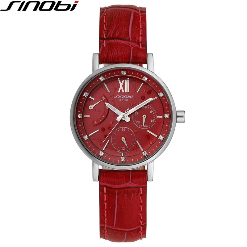 SINOBI Wathes Women Red Genuine Leather Strap Luxury Female Watch Rattrapante Outdoor Date Blue Quartz Ladies Wristwatch 1136 цены