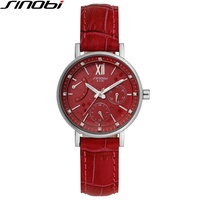 SINOBI Wathes Women Red Genuine Leather Strap Luxury Female Watch Rattrapante Outdoor Date Blue Quartz Ladies Wristwatch 1136