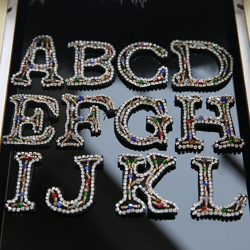 26 English Letters Alphabet New Diy Accessories Garment Lace Patch of Water Drill Nail Beads Applique Fabric 10pieces RS1106