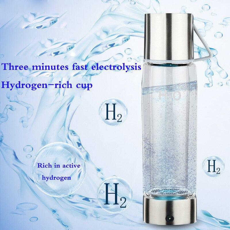 550 ml Riche En Hydrogène Bouteille D'eau avec USB Transparent D'eau En Verre avec Couvercle Portable BPA-livraison D'affaires Ioniseur D'eau Tasse en verre