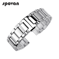SPOVAN Polished Stainless Steel Watch Bands Solid Three Beads Strap For Sports Watch Watchbands 22mm 24mm