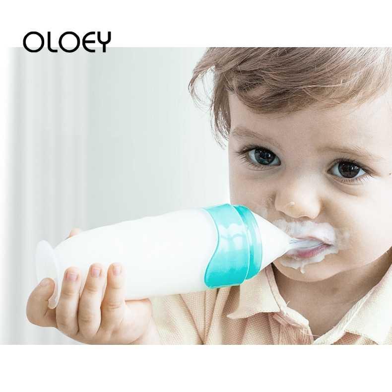 OLOEY ขวดนมทารกแรกเกิดปลอดภัยเด็กวัยหัดเดินทารกซิลิโคนบีบ Feed ช้อนเด็กการฝึกอบรม Feeder อาหารนมธัญพืชขวด