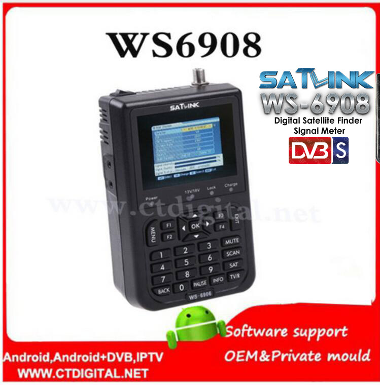 Original Satlink WS-6908 3.5 LCD DVB-S FTA Digital Satellite Signal ws 6908 satellite Finder Meter better than ws- 6906 ws-6933 1pc original satlink ws 6933 ws6933 dvb s2 fta c ku band digital satellite finder meter free shipping