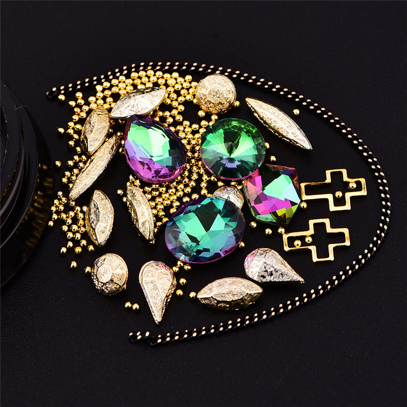 3D Nail Decoration Mix Sizes Crystal Clear Alien Protein Drill Cross Circle Black Snake Bone Mixed Nail Studs Decor P27