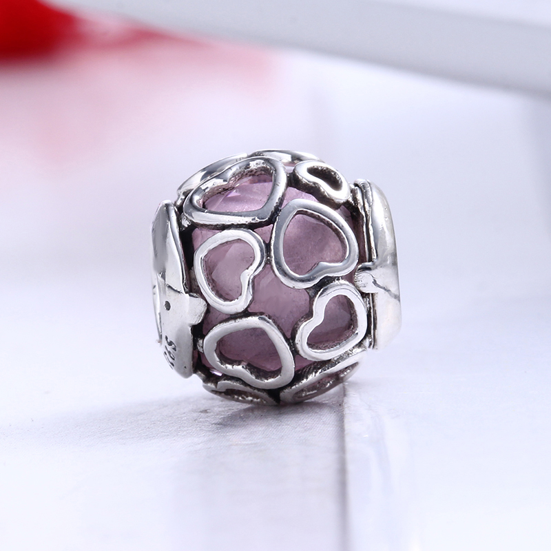 100% 925 Sterling Silver Fit Original Pandora Bracelet Pink Encased in Love Charmd DIY Charms Beads for Jewelry Making Gift