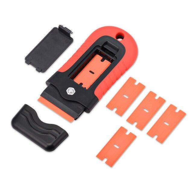 FOSHIO Plastik Jilet Kazıyıcı + 5 adet Blade Pencere Tonu vinil araç örtüsü Tutkal şerit etiket Sökücü Seramik Cam Evi Temiz Silecek