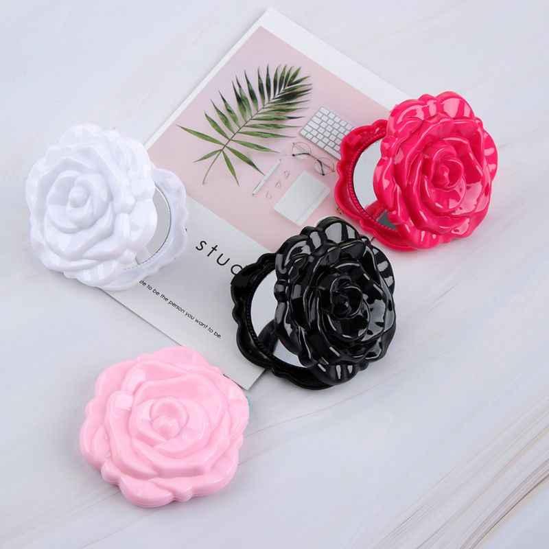 4 cores Meninas Viagem Portátil Dobrável Espelho de Bolso Magia Bonito Rodada Rose Flor Forma Dupla Face 3D Maquiagem Ferramenta de Cosméticos