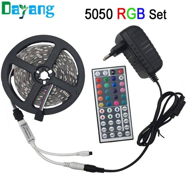 non waterproof LED light 5050 RGB led strip 5m 10m fita de led tape diode feed tiras lampada DC 12V+Remote Control+Power Adapter
