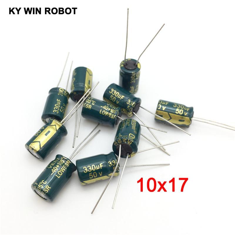 10 Pcs 35 V 330uF 105 C radial plomb condensateur électrolytique 10 mm x 13 mm