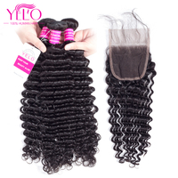 Yelo Indian Deep Wave Hair Bundles With Closure nature hair Bundles With Closure 4x4Top Lace Closure Non Remy Hair