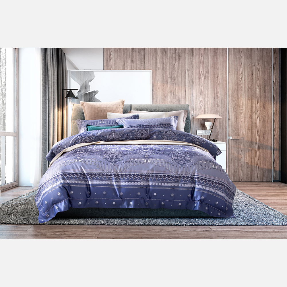 bedding set queen size comforter bedding sets super king size for adults purple flower print palace style 4pc suit 2018 New